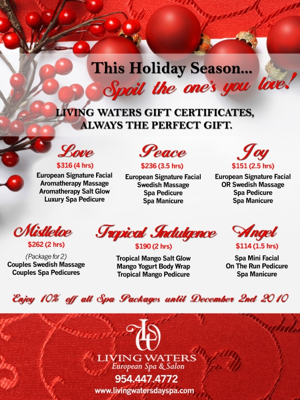 Day spa living waters day spa 39 s blog for 12 days of christmas salon specials
